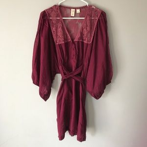 Anthropologie Eloise wine boho lace mini dress M